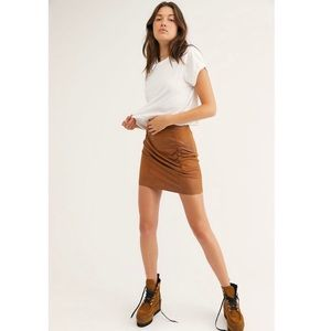Free People Ruched Faux Leather Mini Skirt